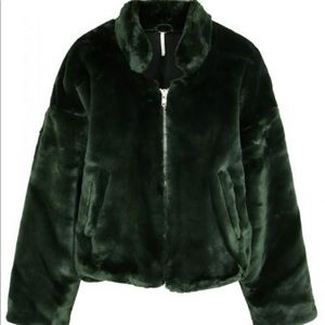 Free People, Size Small, Green Faux Fur